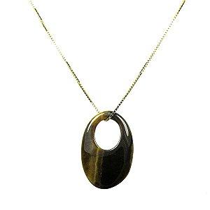 Colar ouro 18k com pingente pedra natural