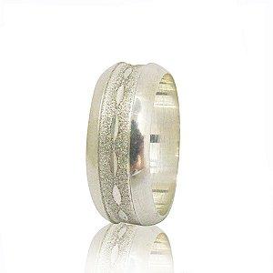 Par de Aliança de Compromisso (Prata) Tradicional 8mm diamantada