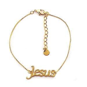 Pulseira folheado a ouro Jesus