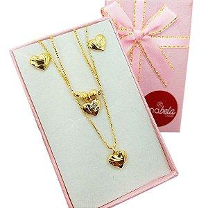 Conjunto infantil coração banho de ouro (com pulseira)