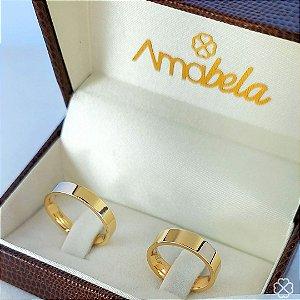 PAR DE ALIANÇA Ouro 10k dela 5mm e a dele 4mm
