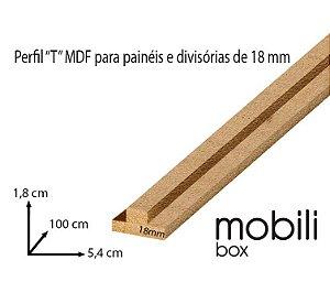 """Perfil para fixação de Painel Divisória Vazado Cobogó 18 mm - TIPO """"T"""" - Barra de 1,0 m em mdf cru"""