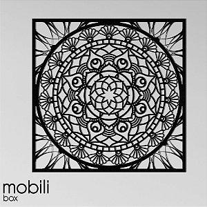 Mandala Clássica Emoldurada Flores Prosperidade 120 cm em mdf cru