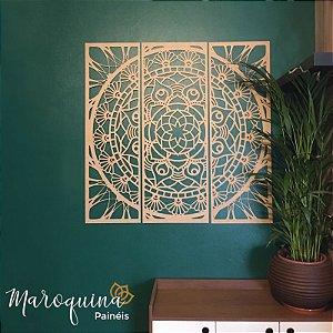 Mandala Clássica Emoldurada Flores Prosperidade Triplo Frame - mdf cru 102 x 102 cm