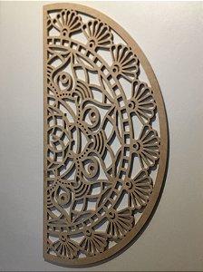 Meia Mandala Flores Prosperidade 48 x 22,50 cm em mdf cru