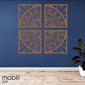 Mandala Clássica Emoldurada Dividida Flores Prosperidade 48 cm em mdf cru
