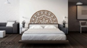 Meia Mandala Flores Prosperidade 60 x 30 cm em mdf cru