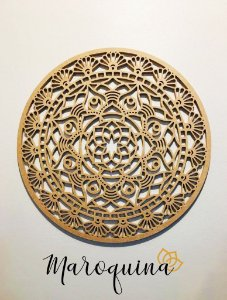 Mandala Clássica Flores Prosperidade 48 cm em mdf cru