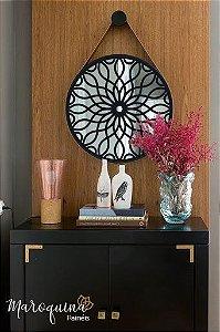 Espelho Mandala Daisy 48 cm com Tira de Couro e botão para pendurar