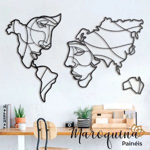 Quadro Mapa Mundi Face The World - 100 x 60 cm em mdf preto 6 mm