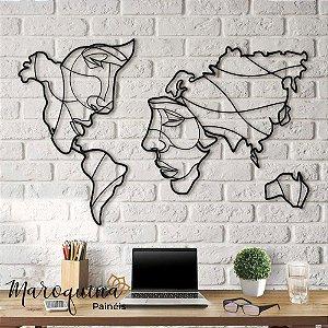 Quadro Mapa Mundi Face The World - 100 x 60 cm em mdf branco 4 mm