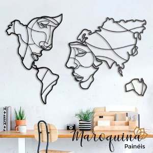 Quadro Mapa Mundi Face The World - 100 x 60 cm em mdf cru 6 mm