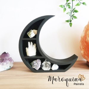 Nicho Místico Lua Crescente em Madeira - 40 x 40 X 9 cm