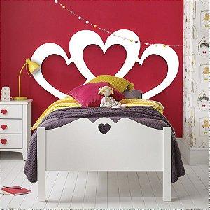 Cabeceira Cama Solteiro Triple Heart 90 x 45 cm em mdf cru 3 mm