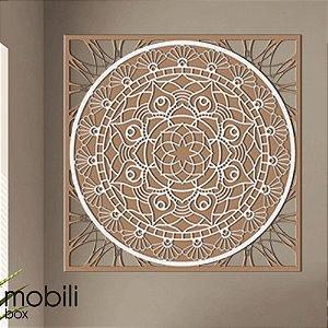 Mandala Clássica Emoldurada Flores Prosperidade 48 cm em mdf cru e branco