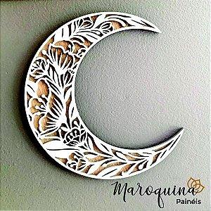Lua Floral Crescente - Estilo Boho em madeira 12 mm