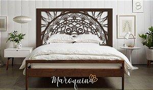 Cama Mandala Flores Prosperidade Queen Madeira Marrom
