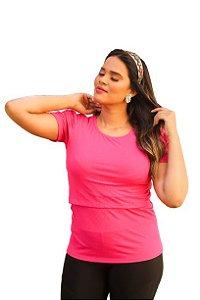 Camiseta Princesa Amamentação Rosa Canelada  G