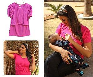 Camiseta Princesa Amamentação Rosa Canelada M