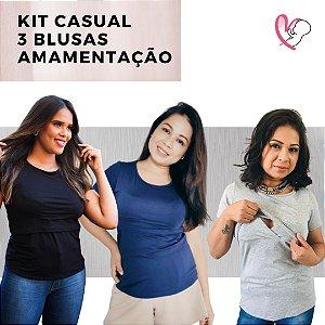 Kit Amamentação Casual - 3 camisetas de amamentar