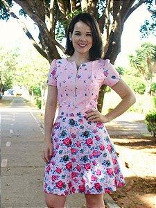 Vestido Maria Rodado crepe de alfaiataria G