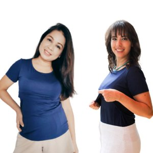 Camiseta Liz Amamentação Azul Marinho