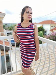 Vestido Amamentação Ana - Midi Reto Listras Canelado - P, M e GG