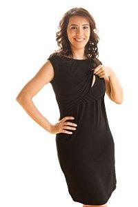 Vestido Amamentação Ana - Midi Reto - Preto Canelado  - P, M e GG