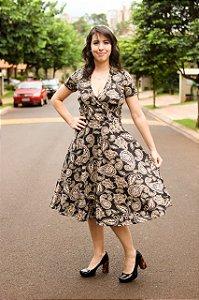 Vestido Amamentação Bia - Preto Flores - P, M e GG