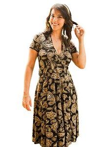 Vestido Amamentação Bia - Preto Flores - P e GG