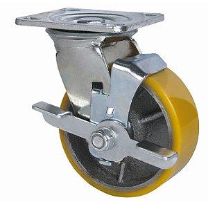 """Rodízio 6"""" Giratório com freio Poliuretano - 280Kg"""