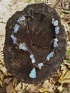 gargantilha pedras da lua / amuleto poder feminino