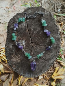 gargantilha ametista com quartzo verde /  amuleto transmutar