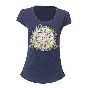 camiseta feminina mandala zodiaco