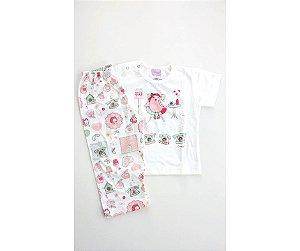 b65d1bbc2 Pijama Infantil Composê Baby Telefone Bege
