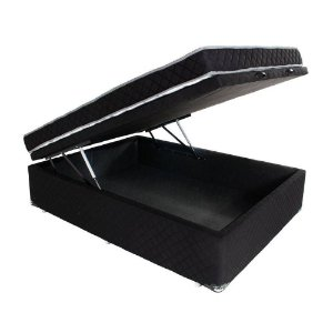 Conjunto Colchão Casal D33 Antialérgico + Cama Box Baú Microfibra 138x188x57