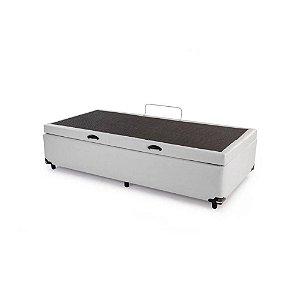 Cama Box Bau Solteiro Luxo 88 X 188 Corino Cinza