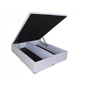 Cama Box Baú Bipartido Casal 138 X 188 X 44 Corino Branco