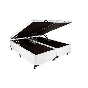 Cama Box Bau Casal Bipartido 138 X 188 Poliester Branco