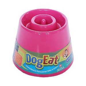 Comedouro Lento Elevado Pet Games Dog Eat Rosa