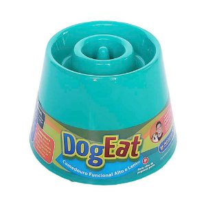 Comedouro Lento Elevado Pet Games Dog Eat Verde