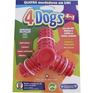 Mordedor Pet Games 4 Dogs Nylon Vermelho M