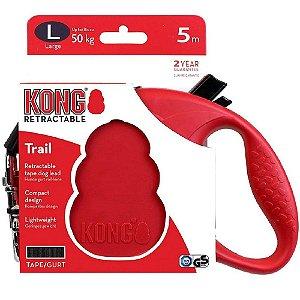 Guia Retrátil Kong Trail G Vermelha p/ Cães até 50kg 5m
