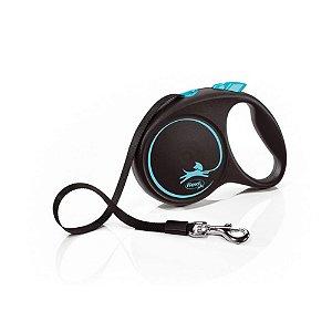 Guia Retrátil p/ Cachorro Flexi Black Design Azul Corda G