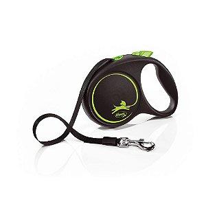 Guia Retrátil p/ Cachorro Flexi Black Design Verde Corda M