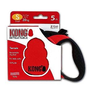 Guia Retrátil Kong Terrain P Vermelha Cães até 20kg 5m