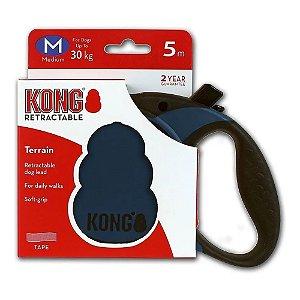 Guia Retrátil Kong Terrain M Preta Cães até 30kg 5m