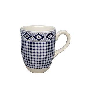 Caneca Em Porcelana Xadrez (350ml) - Azul