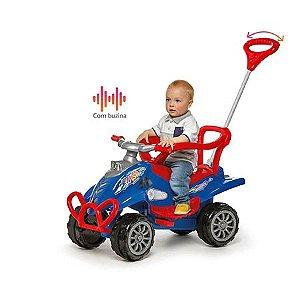 Carrinho de Passeio Cross Turbo Azul com Empurrador Passeio e Pedal - Calesita