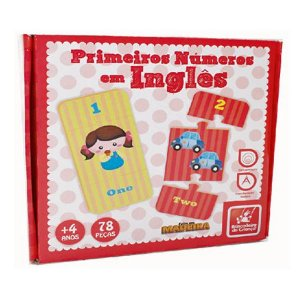 Quebra-Cabeça Primeiros Números em Inglês  - Brincadeira de Criança